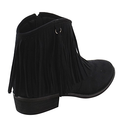 AE17 Side Women's Zipper Low Ankle Booties Block Heel Fringe Dress Black Reneeze dqSEgd