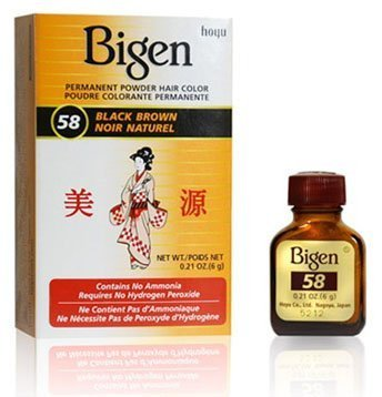 Stall Powder - Bigen #58 Black Brown Permanent Powder Hair Color 6 gram Bottle