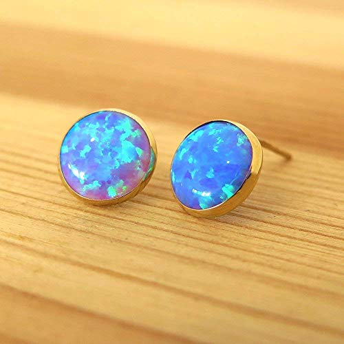 14K Gold Blue Opal Stud Earrings - 14K Solid Yellow Gold Studs, Dainty 8mm October Birthstone Medium Size Handmade Opal Jewelry - Perfect Gift for Classy Women