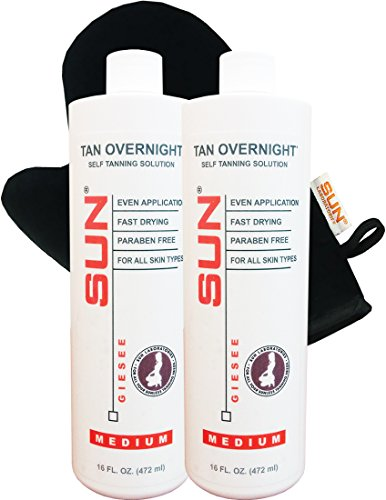 (Spray Tan Solution (Medium) Self Tanning Micro Mist 16 oz 2-pack + Tanning Mitt for Airbrush Tanning -Natural Sunless Airbrush, Body and Face for Bronzing and Golden Tan - Very Dark Sunless Bronzer)