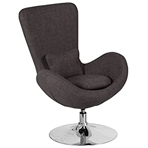Flash Furniture Egg Series Dark Gray Fabric Side Reception Chair
