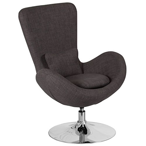 Flash Furniture Egg Series Dark Gray Fabric Side Reception Chair