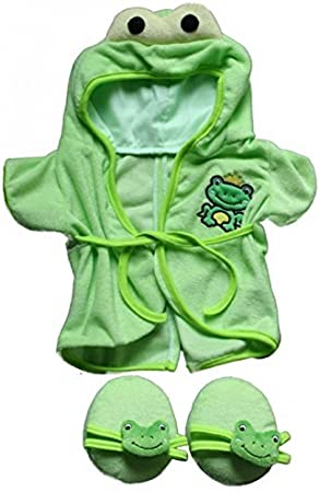 "Frog Robe /& Slippers Pajamas Outfit Teddy Bear Clothes Fit 14/"" 18/"" Build-a-bea"