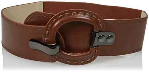 Wide Covered Buckle Belt (Steve Madden Women's Stretch Belt with Covered Buckle Hook Closure, Cognac,)