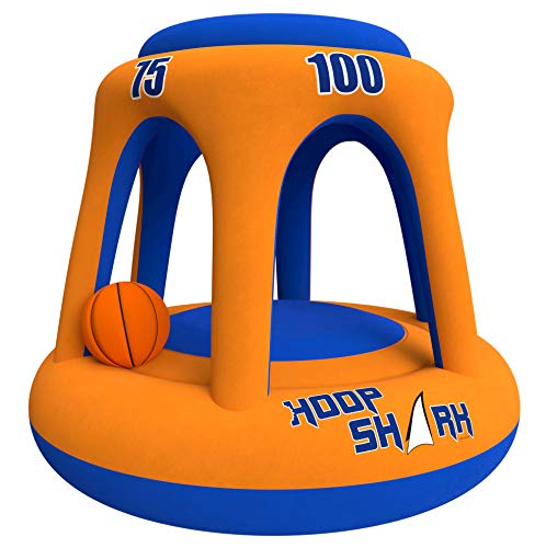 Swimming Pool Basketball Hoop Set by Hoop Shark - Orange/Blue 2020 Edition - Inflatable Hoop with Ball Included - Perfect for Competitive Water Play and Trick Shots - Ultimate Summer Toy (Best Pool Trick Shots Ever)