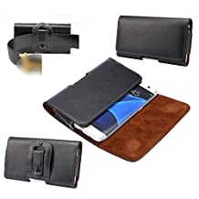 DFV mobile - Case Belt Clip Genuine Leather Horizontal Premium for => ZTE GRAND X2 Z850 > Black