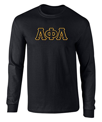 Fashion Greek Alpha Phi Alpha Twill Letter Long Sleeve Tee Black XL