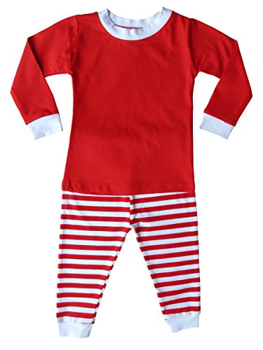 Holiday Christmas Red & White Striped Pajamas for Babies, Toddlers, & Big Kids (12M (6-12 (Red Striped Christmas Pajamas)