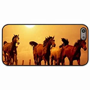 iPhone 5 5S Black Hardshell Case horse running sunset Desin Images Protector Back Cover