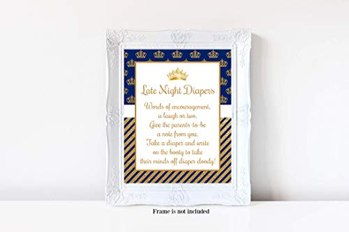 Prince Blue Frame (Little Prince Baby Shower, Late Night Diapers Sign, Prince Baby Shower, Blue and Gold Crown, Royal Prince, Boy Baby Shower, Baby Shower Games, 8x10 Glossy Sign, Frame is NOT included)