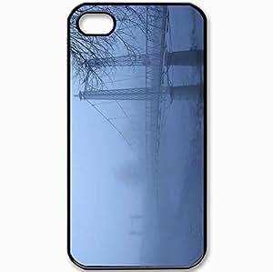Protective Case Back Cover For iPhone 4 4S Case Bridge Fog Branch Black
