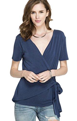 (She + Sky Women's Short Sleeve Modal Knit Surplice Faux Wrap Top with Side Tie (Medium, Navy Blue))