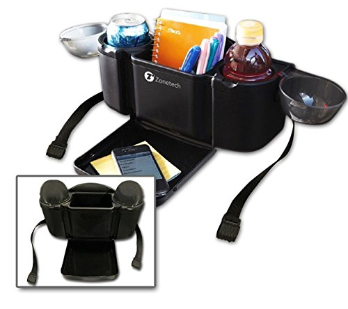 Fold Out Trays - Zone Tech Auto Style Back Seat Organizer with Tray - Car Seat Organizer with Fold-out Tray for Holding Food in Car