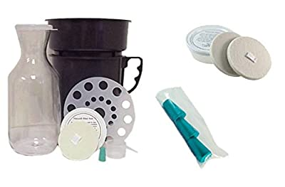Filtron Cold Water Coffee Concentrate Brewer with Extra 2 Pack of Filter Pads & 3 Replacement Rubber Stoppers