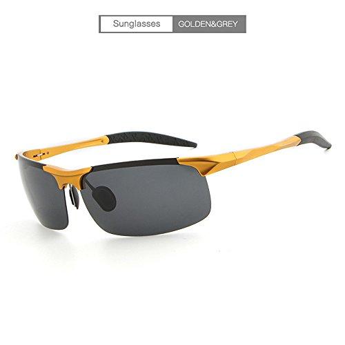 personalidad gafas de los marco de sol hombres conductor del sol de la de al sol Gafas libre magnesio RFVBNM aire de espejo marco de dorado del del gris Lente de aluminio del polarizador le ULTRAVIOLETA de gafas anti manera la vHfnq4