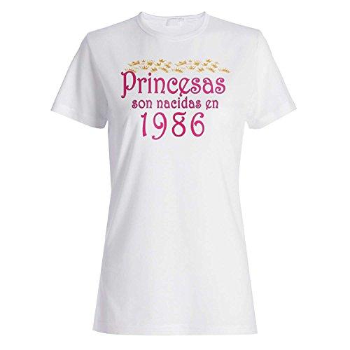 Princesas son nacidas en 1986 camiseta de las mujeres qq36f