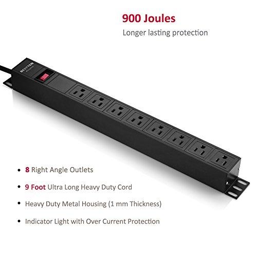 Bestten 8 Outlet Rack-Mount PDU, 1U/ 15A/125V, Aluminum Alloy 900J Surge Protector Power Strip, 9 Feet Cord, ETL Certified, Black by BESTTEN (Image #1)