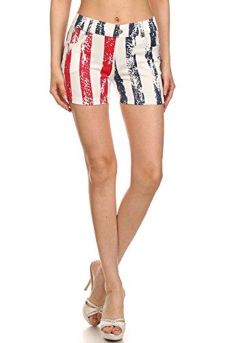 哲学博士数字考えYeleteレディースファッション愛国アメリカ国旗Jeggingショーツ、レッドホワイトブルー