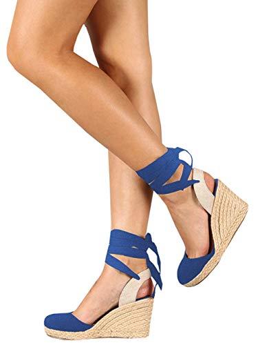 (Ermonn Womens Espadrille Platform Wedge Sandals Closed Toe Lace Up Ankle Strap Shoes (9, Blue))