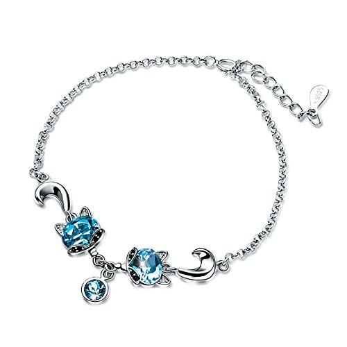 T400 Jewelers 925 Sterling Silver Link Bracelet Made With Blue Swarovski Crystals Women ()