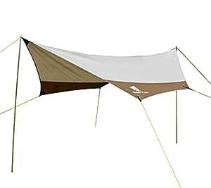 GEERTOP Lona para Camping- Toldo Protector del Sol – Carpa Tarp Impermeable para Acampar, Compacta y Fuerte - 440 x 410 cm (2,7kg) - 4 a 7 Personas con Varillas Incluidas (Gris)