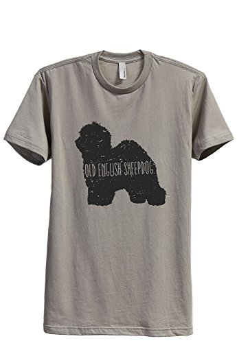 Thread Tank Old English Sheepdog Dog Silhouette Men's Modern Fit T-Shirt Printed Graphic Tee Military Grey X-Large -