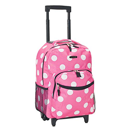 (Rockland Luggage 17 Inch Rolling Backpack, Pink Dot, Medium)