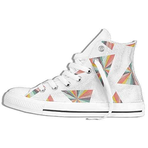 Triangle Prism High Top Classic Canvas Shoes Fashion Sneaker White jguuG