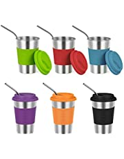 Stainless Steel Kids Cups , Spill Proof Cups, Straw Cups,Metal Drinking Glasses with Silicone Lids Sleeves,Indoor and Outdoor Activities of Children and Adults ( 6 pack, 16oz )
