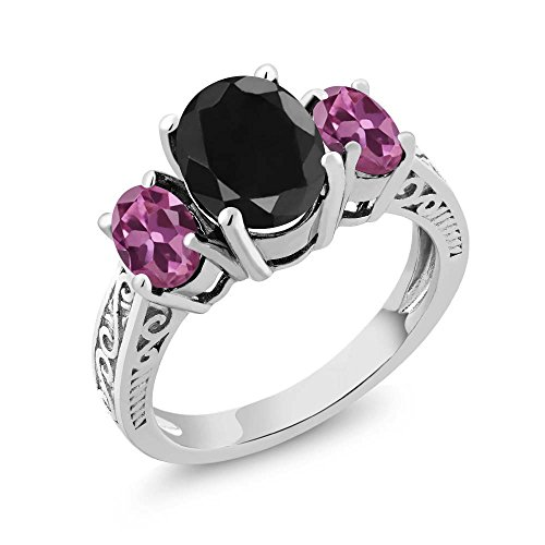 (Gem Stone King 3.54 Ct Oval Black Sapphire Pink Tourmaline 925 Sterling Silver 3-Stone Ring (Size 5))
