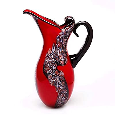 "Luxury Lane Hand Blown Red Art Glass Pitcher Vase 15"" tall"