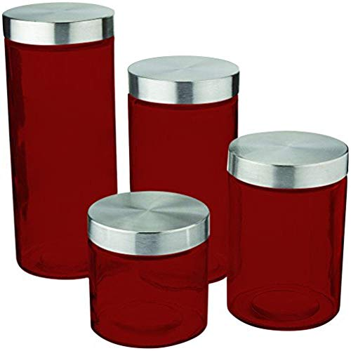 Anchor Callista 4 Piece Glass Canister Red Color Set with Stainless Steel Lids By TableTop ()