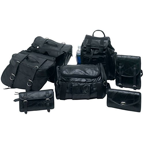 Dancing Stone 7pc Leather Motorcycle SaddleBag Sissy Bar Barrel Tool Bag Luggage fits Harley