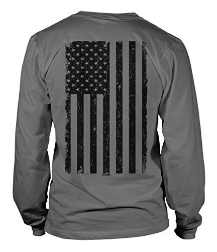 Distressed Black USA Flag - United States Unisex Long Sleeve Shirt (Charcoal - Back Print, - New Logo T-shirt Grey Marines