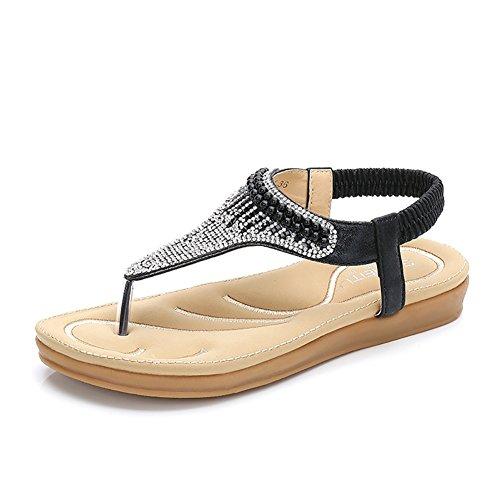 d0d1d9fbb3c Meeshine Women Bohemia Flat Sandals Summer Beach Glitter Beads Elastic  T-Strap Flip-Flop