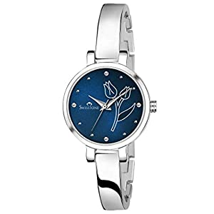 SWISSTONE Analog Women's Watch (Blue Dial Silver Colored Strap)