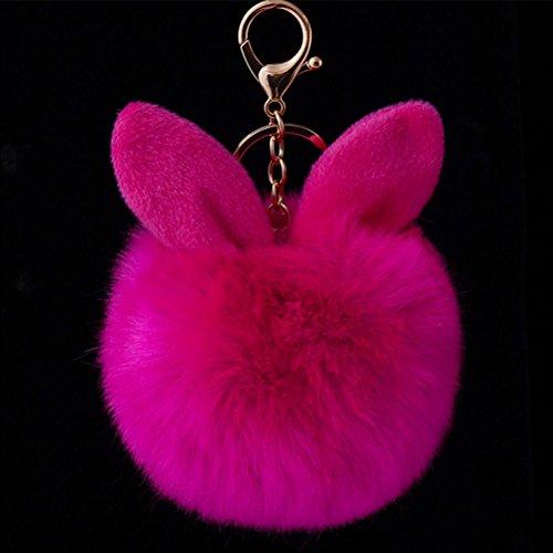 - TOYMYTOY Fur Ball Keychain,Rabbit Ear Keyring Bag Charm Decoration (Rosy)