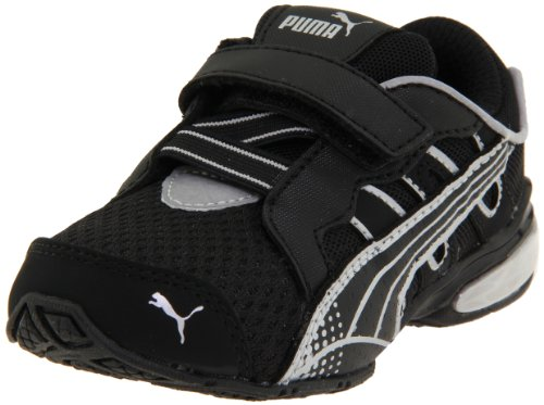 PUMA Voltaic 3 V Kids Running Shoe (Toddler/Little Kid/Big Kid),Black/Black/PUMA Silver,4 M US Toddler