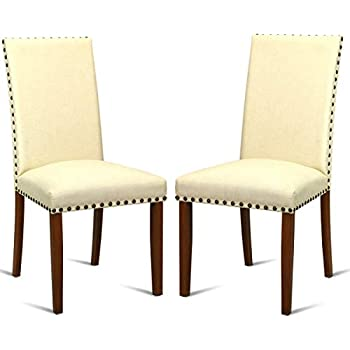 Amazon.com: giantex Set de 2 sillas de comedor tela tapizado ...