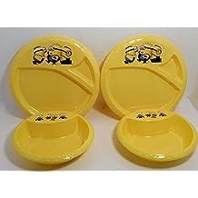 Minions Dining Set - 4 Item Bundle - 2 Plates & 2 Bowls Despicable Me Novelty