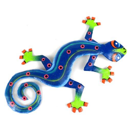 Eight Inch Blue Green Metal Gecko