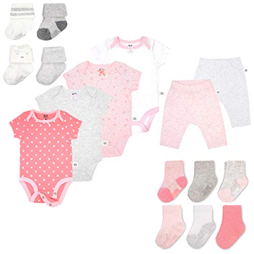 Fruit of the Loom Baby Gift Set 16-Piece Breathable Cooling Mesh Bodysuits, Pants and Socks - Unisex, Girls, Boys (3-6 Months, Pink)