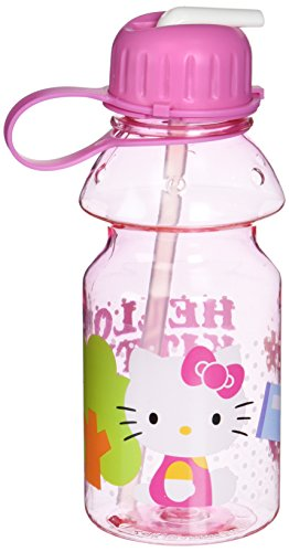 Zak! Designs Tritan Water Bottle with Flip-up Spout and Straw with Hello Kitty Graphics, Break-resistant and BPA-free plastic, 14 - Bottle Water Kitty Hello