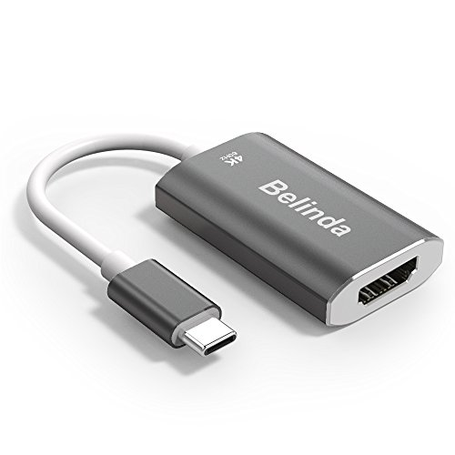 USB C TO HDMI Adapter,Belinda USB 3.1 Type C (USB-C) to HDMI Adapter 4K 60HZ With Aluminium Case for 2017 MacBook Pro/Samsung Galaxy S8 -Grey
