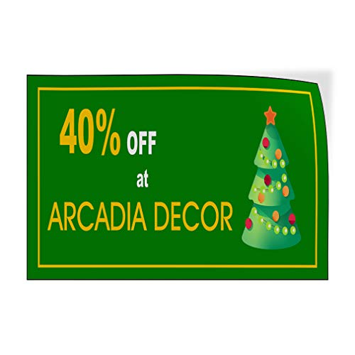 Custom Door Decals Vinyl Stickers Multiple Sizes Percentage Off Arcadia Decor Green Business Arcadia D Cor Outdoor Luggage & Bumper Stickers for Cars Green 10X7Inches Set of 10