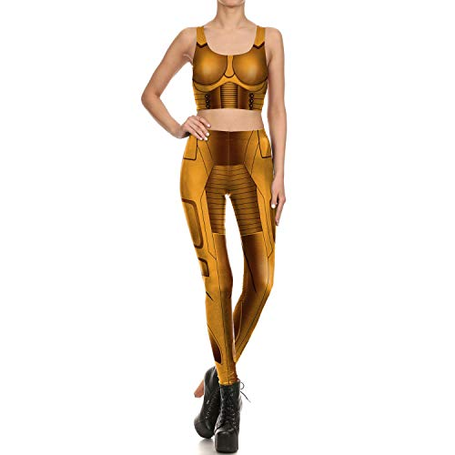 Mosszra Gold Armor Print Fit Tight Anime Cosplay Two Piece Crop Top & Pant -