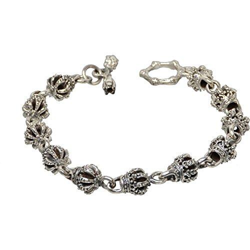 Bouddha to Light Biker Argent Sterling fait main bracelet Couronne Crown XL 24cm eie 289eur