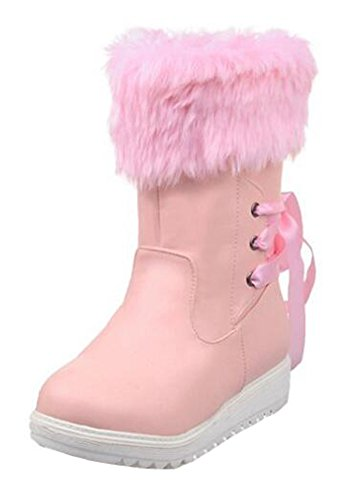 [CHFSO Women's Stylish Solid Lace Up Waterproof Furry Fur Lined Mid Calf Low Heel Warm Winter Snow Boots Pink 5.5 B(M)] (Furry Boots Cheap)