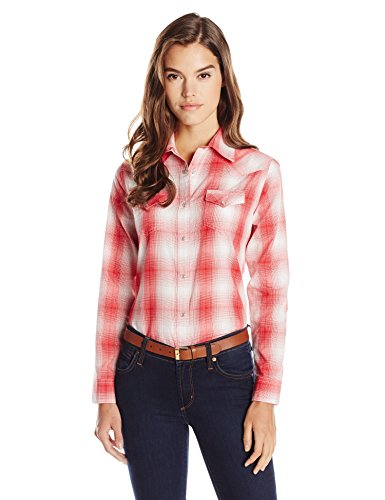 Wrangler Women's Western Fashion Shirts, Red Plaid, Medium Ladies Western Shirt