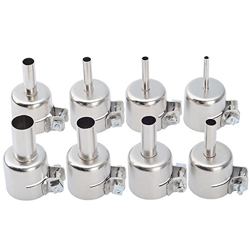 8pcs Stainless Steel Heat Resisting Nozzles for 850 852D 898 858 Hot Air Gun Soldering Station Nozzle Tips Tool Hot Air Nozzle